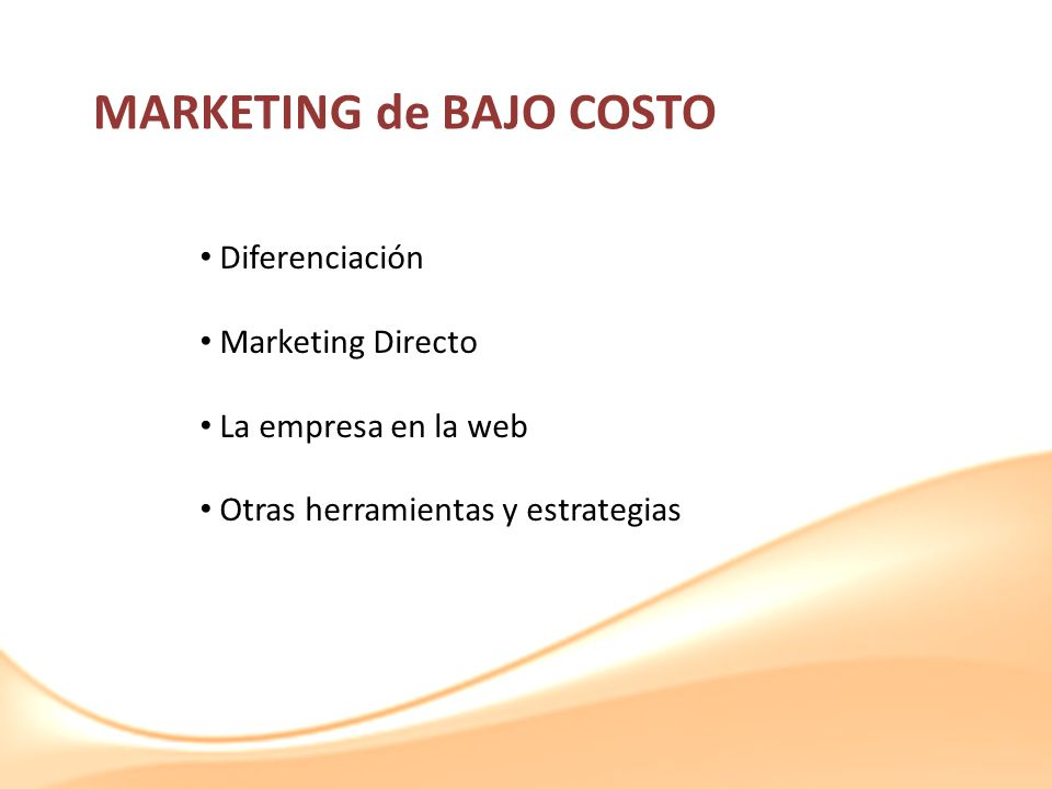 MARKETING de BAJO COSTO