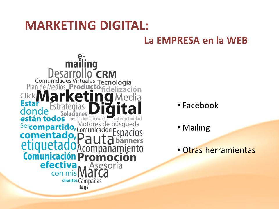 MARKETING DIGITAL: La EMPRESA en la WEB Facebook Mailing