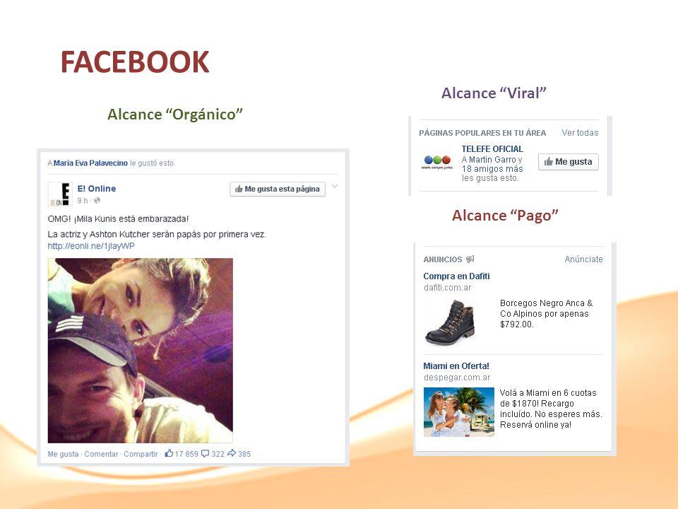 FACEBOOK Alcance Viral Alcance Orgánico Alcance Pago