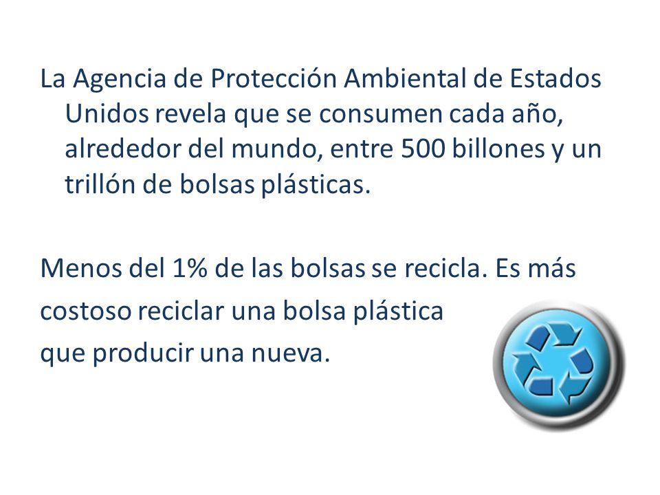 La Agencia de Protección Ambiental de Estados Unidos revela que se consumen cada año, alrededor del mundo, entre 500 billones y un trillón de bolsas plásticas.