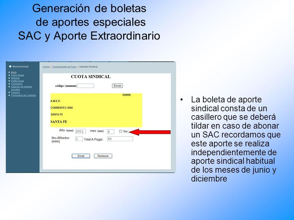 Generación de boletas de aportes especiales SAC y Aporte Extraordinario