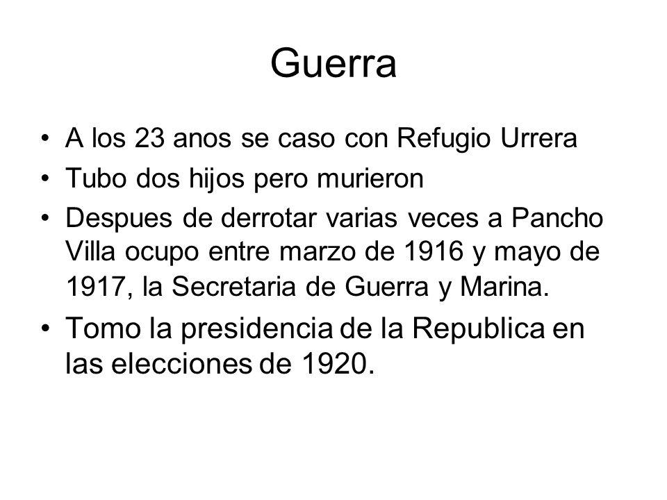 Guerra Tomo la presidencia de la Republica en las elecciones de 1920.