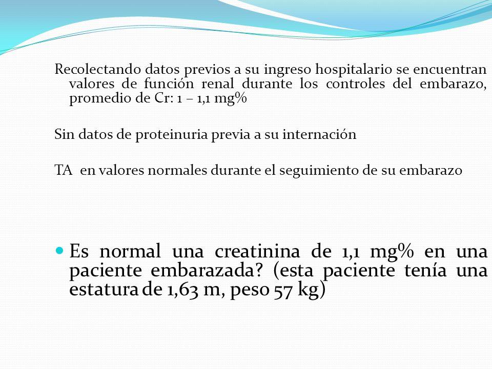 Recolectando datos previos a su ingreso hospitalario se encuentran valores de función renal durante los controles del embarazo, promedio de Cr: 1 – 1,1 mg%