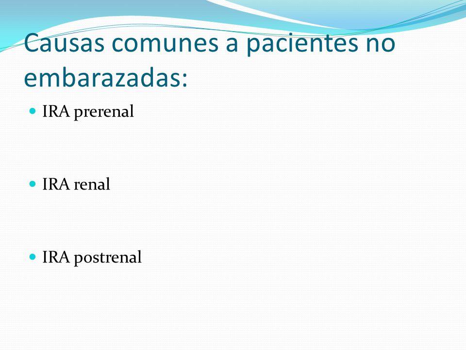 Causas comunes a pacientes no embarazadas: