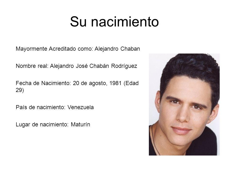 Su nacimiento Mayormente Acreditado como: Alejandro Chaban
