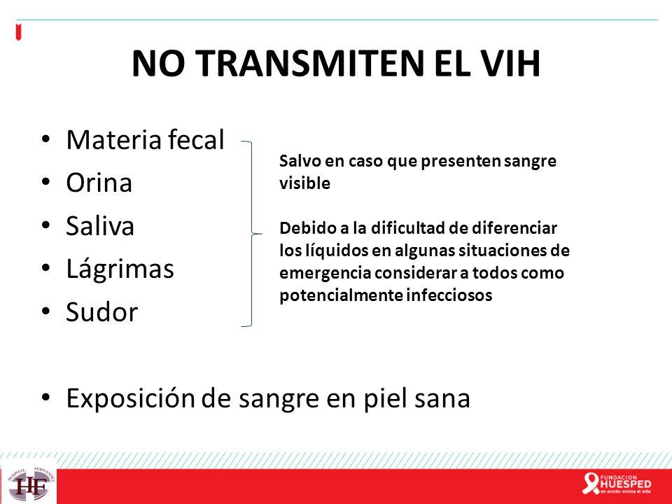 NO TRANSMITEN EL VIH Materia fecal Orina Saliva Lágrimas Sudor
