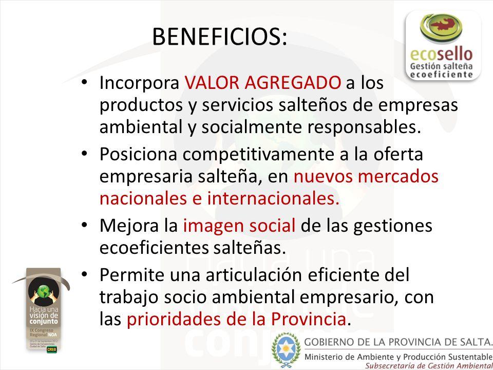 BENEFICIOS: Incorpora VALOR AGREGADO a los productos y servicios salteños de empresas ambiental y socialmente responsables.