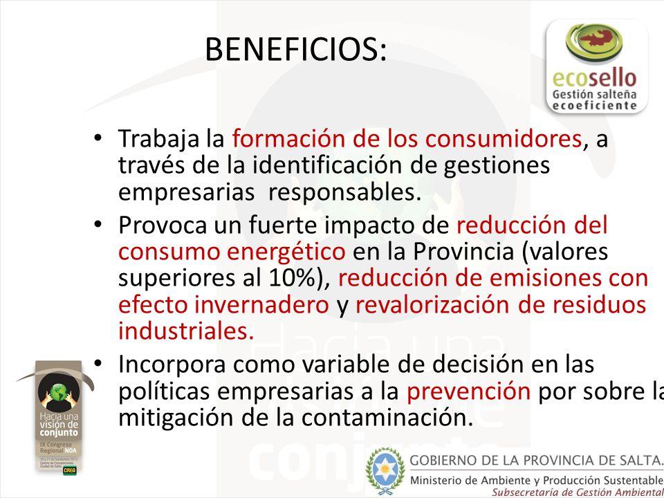 BENEFICIOS: Trabaja la formación de los consumidores, a través de la identificación de gestiones empresarias responsables.