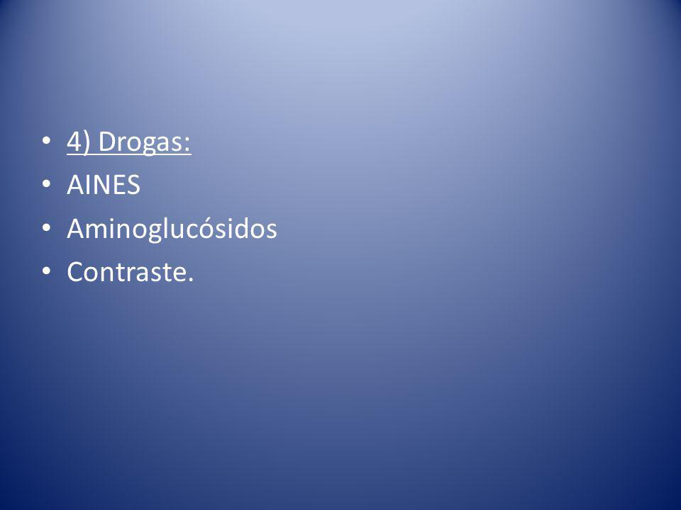 4) Drogas: AINES Aminoglucósidos Contraste.