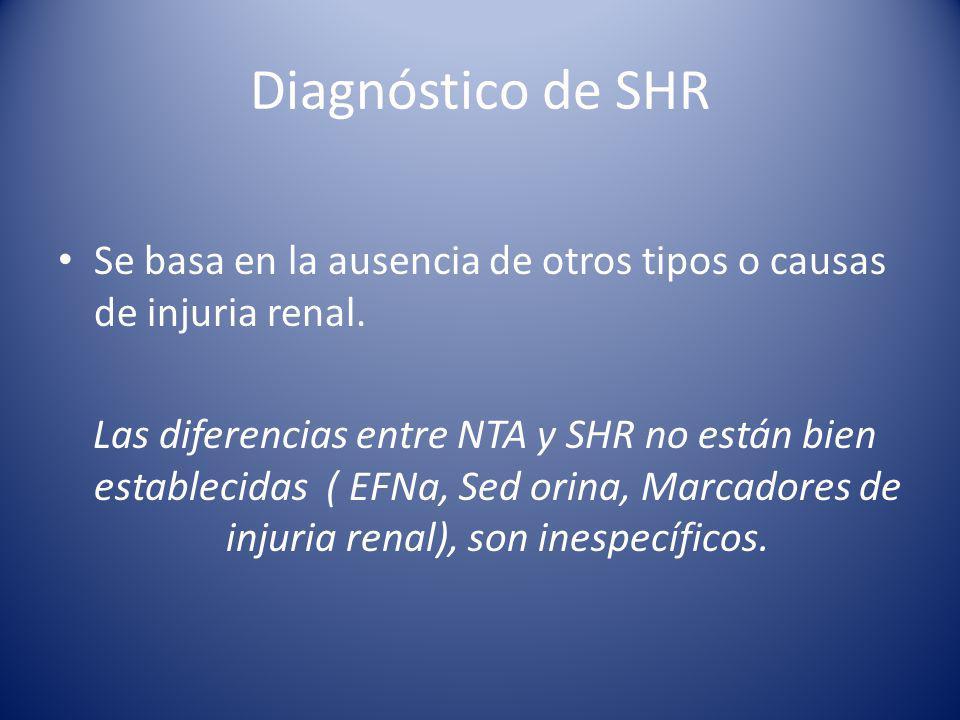 Diagnóstico de SHR Se basa en la ausencia de otros tipos o causas de injuria renal.