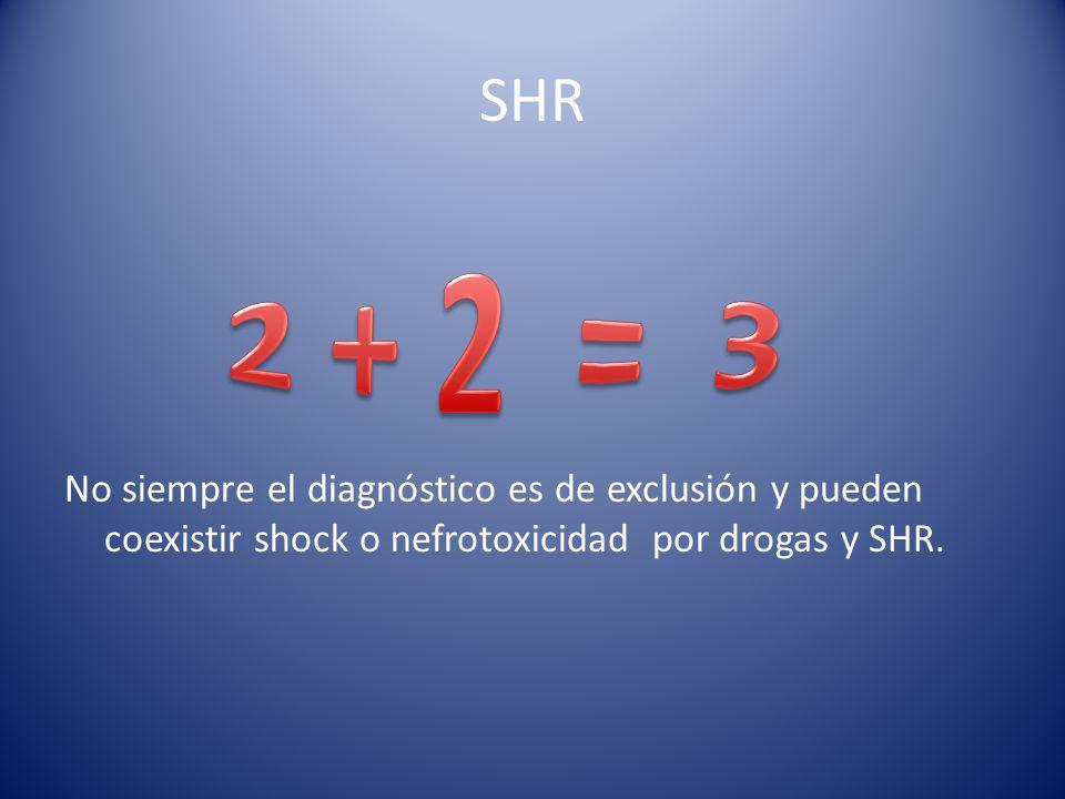 SHR No siempre el diagnóstico es de exclusión y pueden coexistir shock o nefrotoxicidad por drogas y SHR.
