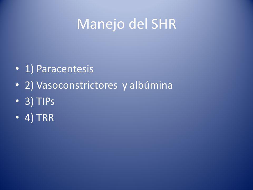 Manejo del SHR 1) Paracentesis 2) Vasoconstrictores y albúmina 3) TIPs