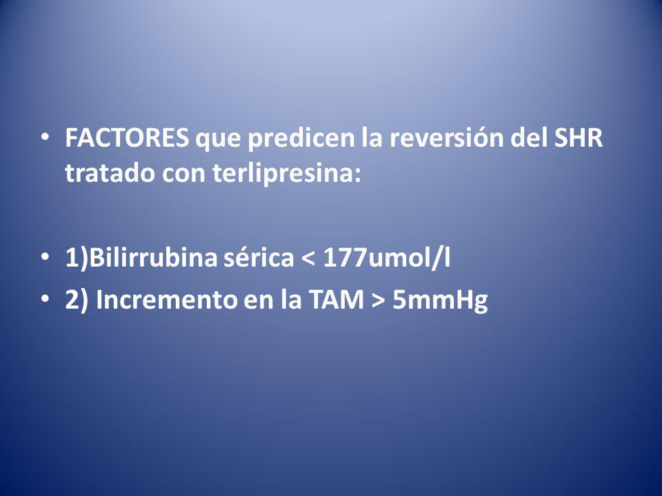 FACTORES que predicen la reversión del SHR tratado con terlipresina: