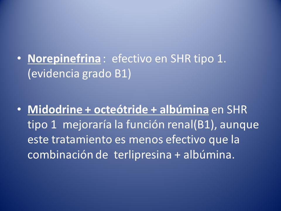 Norepinefrina : efectivo en SHR tipo 1. (evidencia grado B1)