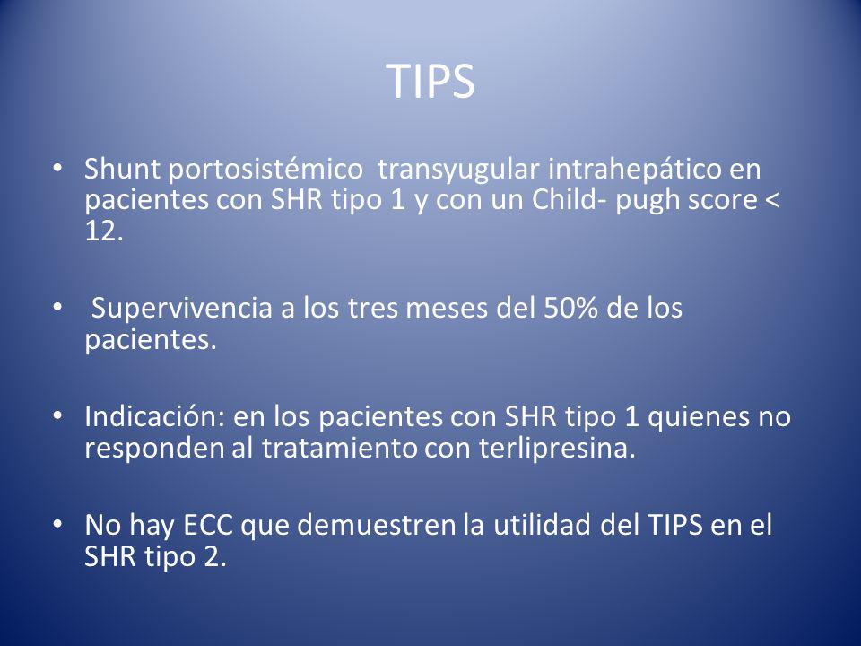 TIPS Shunt portosistémico transyugular intrahepático en pacientes con SHR tipo 1 y con un Child- pugh score < 12.