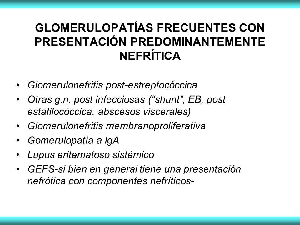 GLOMERULOPATÍAS FRECUENTES CON PRESENTACIÓN PREDOMINANTEMENTE NEFRÍTICA