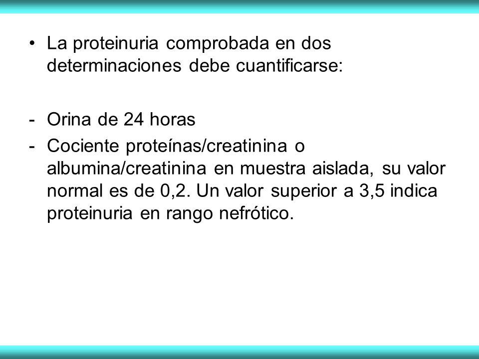 La proteinuria comprobada en dos determinaciones debe cuantificarse: