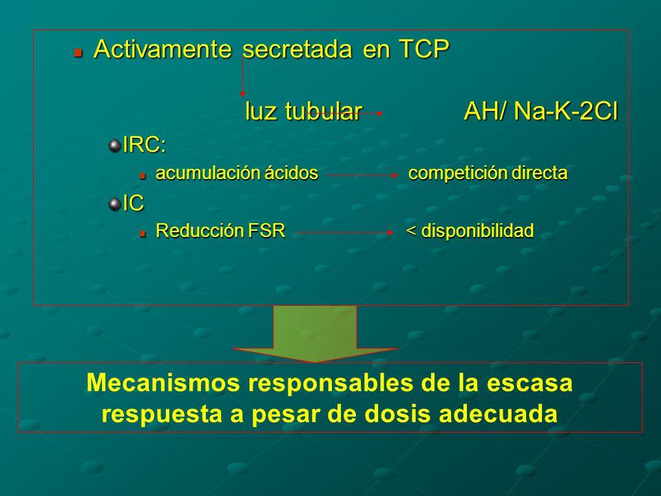 Activamente secretada en TCP luz tubular AH/ Na-K-2Cl