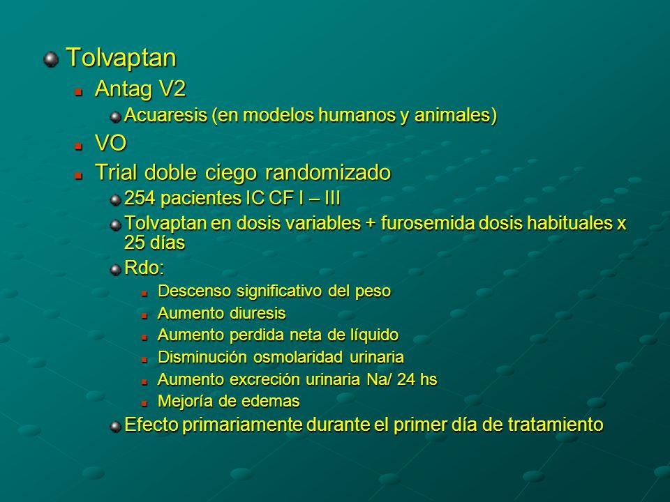 Tolvaptan Antag V2 VO Trial doble ciego randomizado