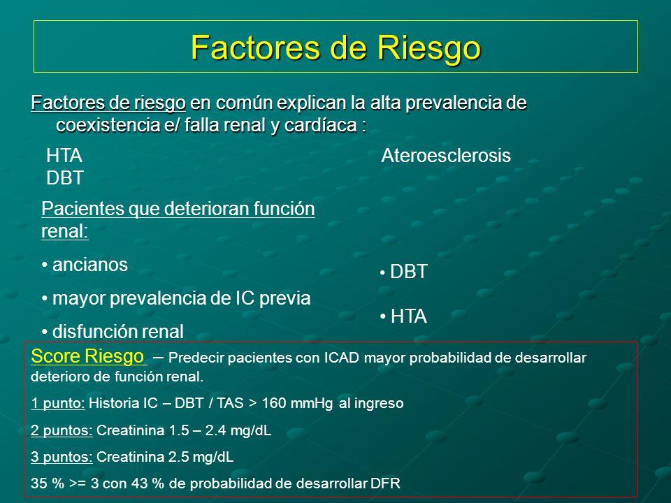 Factores de Riesgo Factores de riesgo en común explican la alta prevalencia de coexistencia e/ falla renal y cardíaca :