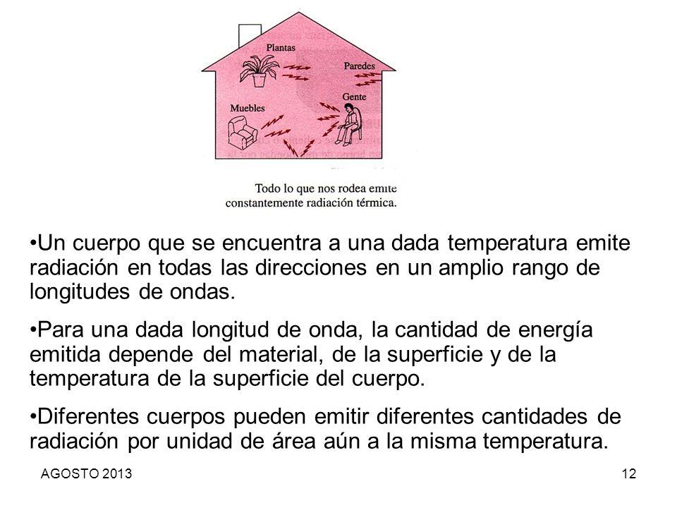 Un cuerpo que se encuentra a una dada temperatura emite radiación en todas las direcciones en un amplio rango de longitudes de ondas.