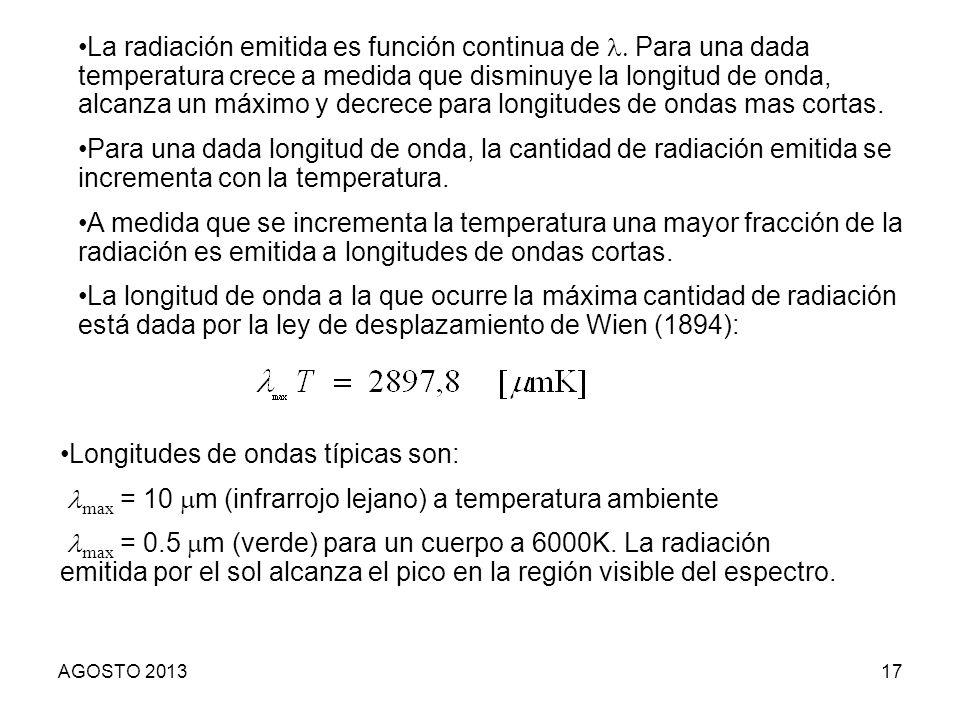Longitudes de ondas típicas son: