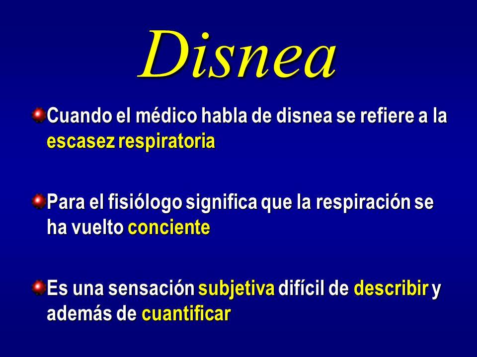 Disnea Cuando el médico habla de disnea se refiere a la escasez respiratoria. Para el fisiólogo significa que la respiración se ha vuelto conciente.