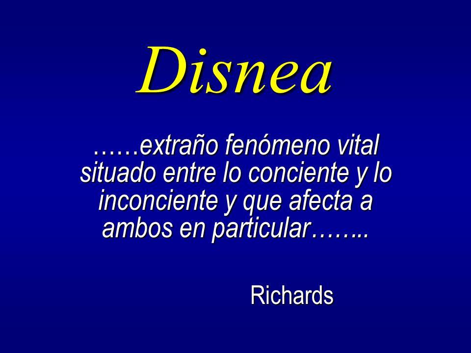 Disnea ……extraño fenómeno vital situado entre lo conciente y lo inconciente y que afecta a ambos en particular……..