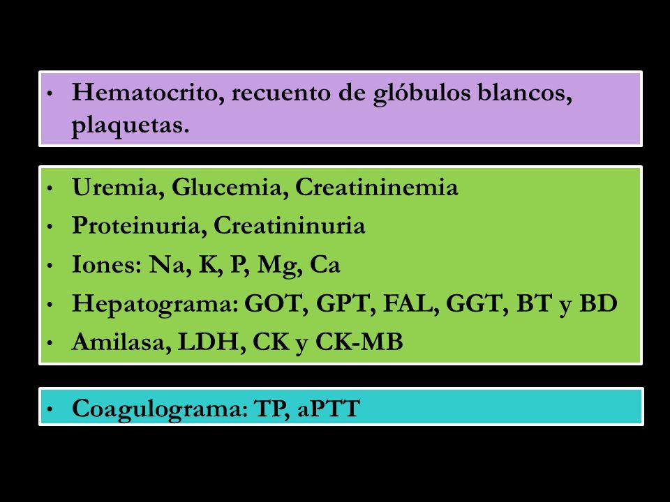 Hematocrito, recuento de glóbulos blancos, plaquetas.