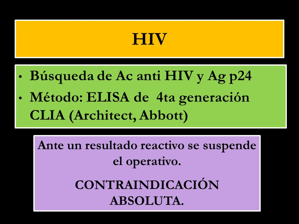 HIV Búsqueda de Ac anti HIV y Ag p24
