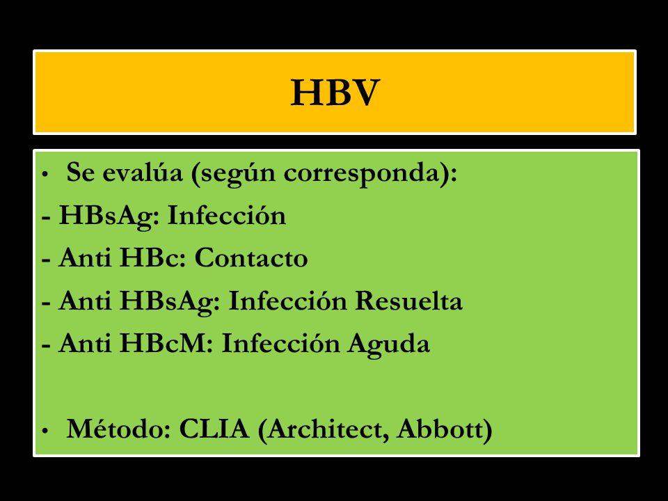 HBV Se evalúa (según corresponda): - HBsAg: Infección