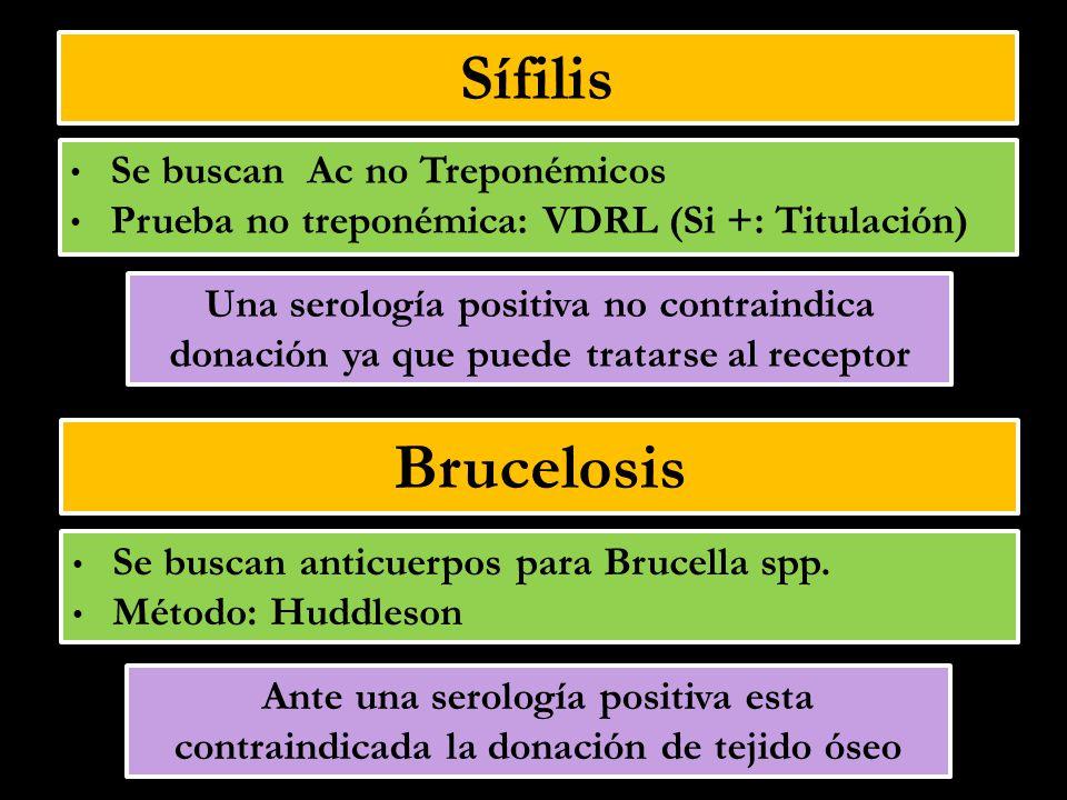 Sífilis Brucelosis Se buscan Ac no Treponémicos