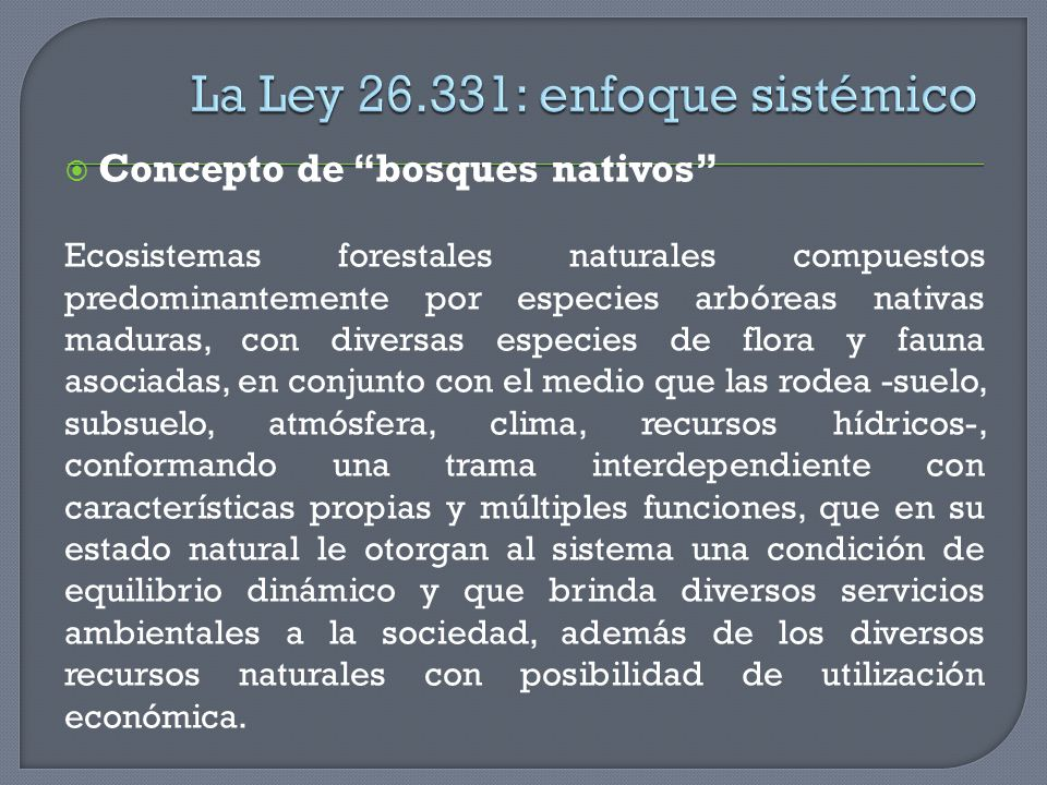 La Ley 26.331: enfoque sistémico