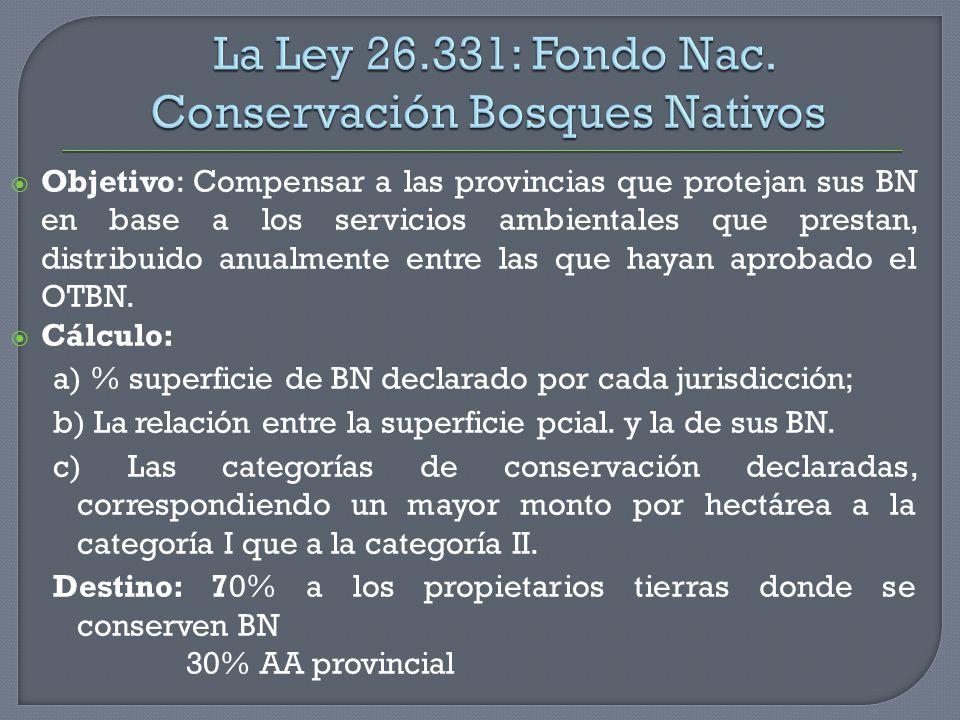 La Ley 26.331: Fondo Nac. Conservación Bosques Nativos