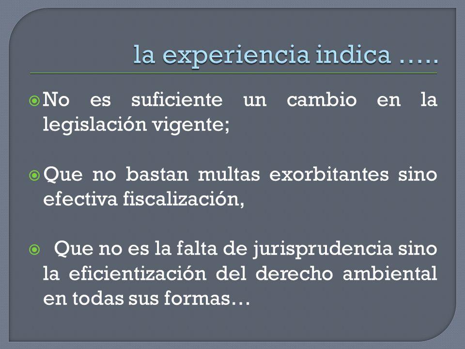 la experiencia indica …..