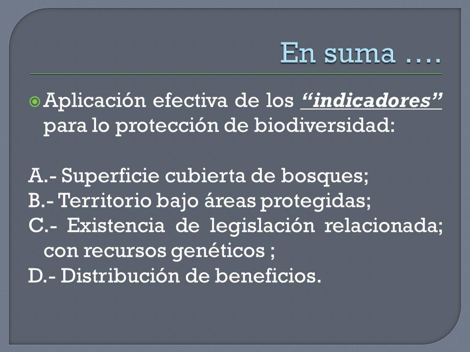 En suma …. Aplicación efectiva de los indicadores para lo protección de biodiversidad: A.- Superficie cubierta de bosques;