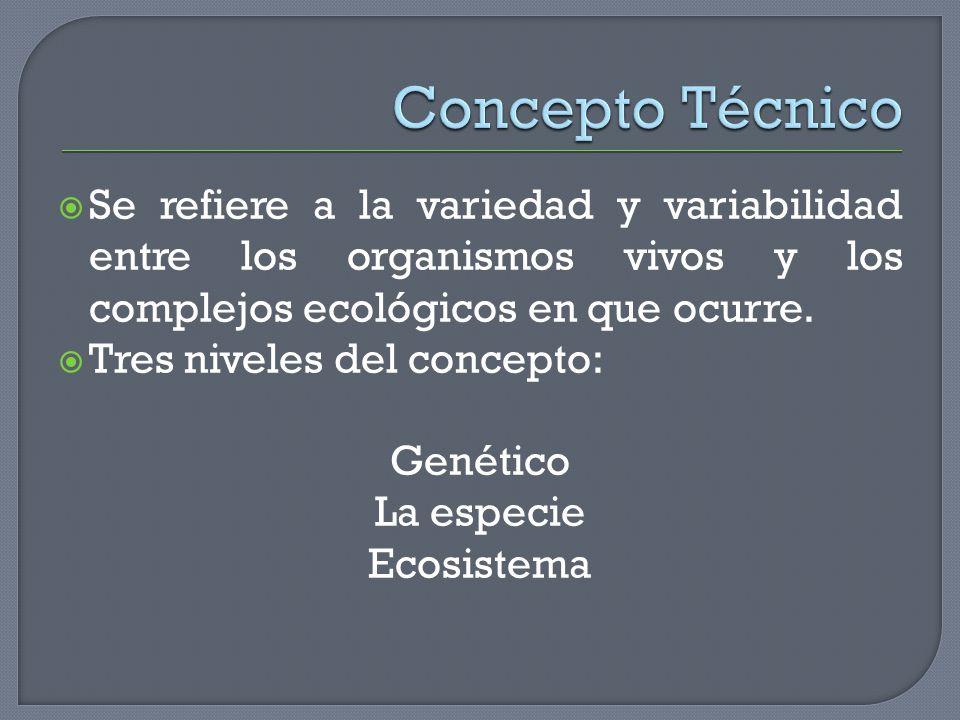 Concepto Técnico Se refiere a la variedad y variabilidad entre los organismos vivos y los complejos ecológicos en que ocurre.