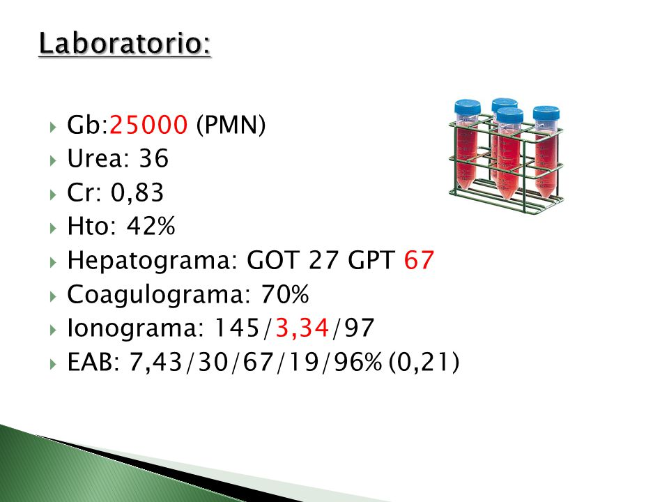 Laboratorio: Gb:25000 (PMN) Urea: 36 Cr: 0,83 Hto: 42%