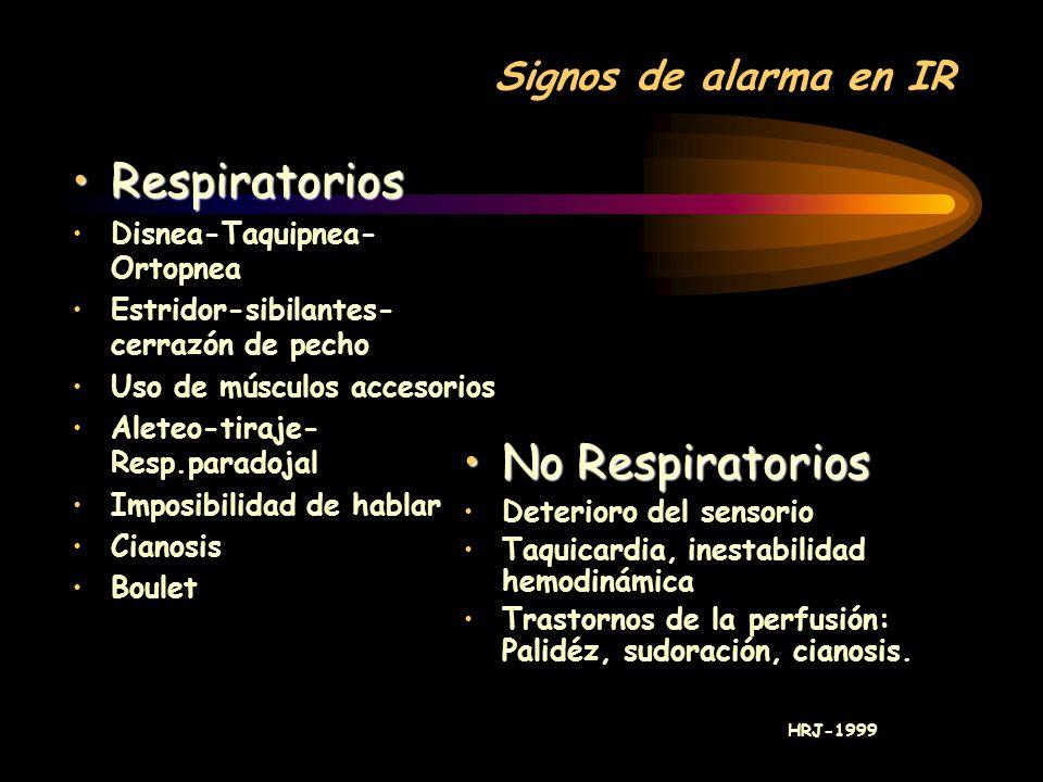 Respiratorios No Respiratorios Signos de alarma en IR