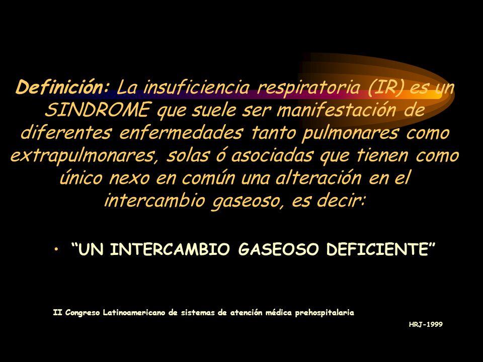Definición: La insuficiencia respiratoria (IR) es un SINDROME que suele ser manifestación de diferentes enfermedades tanto pulmonares como extrapulmonares, solas ó asociadas que tienen como único nexo en común una alteración en el intercambio gaseoso, es decir: