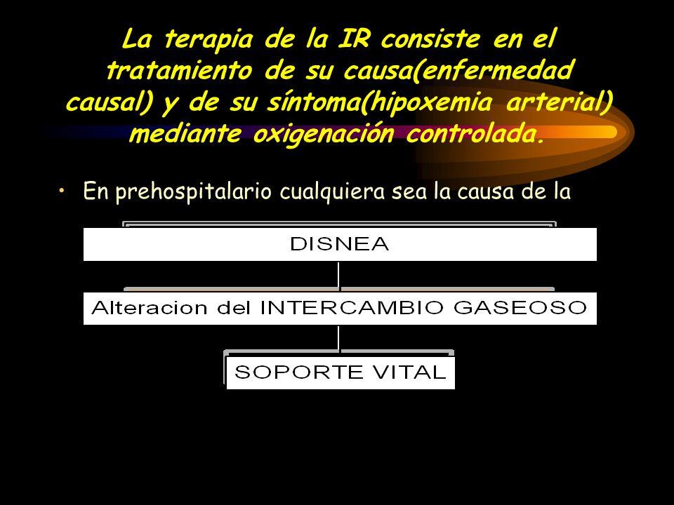 La terapia de la IR consiste en el tratamiento de su causa(enfermedad causal) y de su síntoma(hipoxemia arterial) mediante oxigenación controlada.