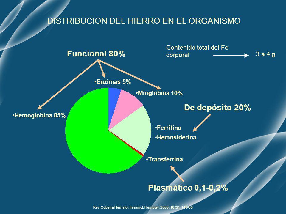 DISTRIBUCION DEL HIERRO EN EL ORGANISMO