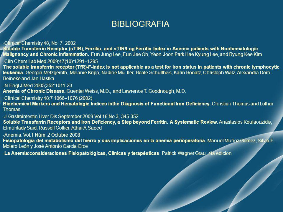 BIBLIOGRAFIA -Clinical Chemistry 48, No. 7, 2002