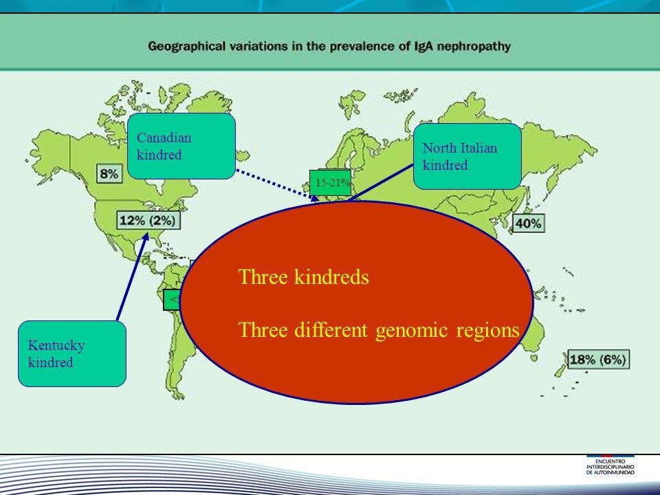 Three different genomic regions