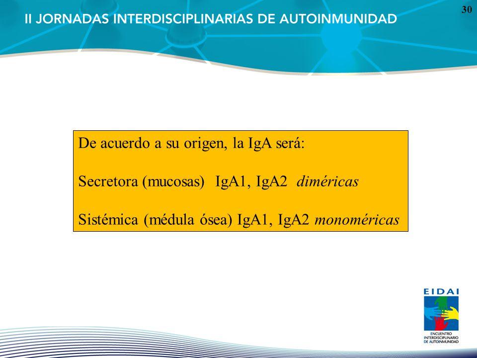 De acuerdo a su origen, la IgA será: