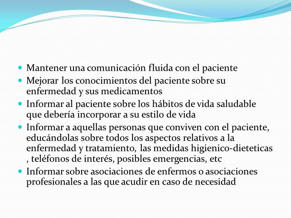 Mantener una comunicación fluida con el paciente