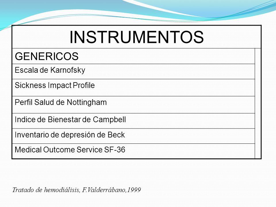 INSTRUMENTOS GENERICOS Escala de Karnofsky Sickness Impact Profile