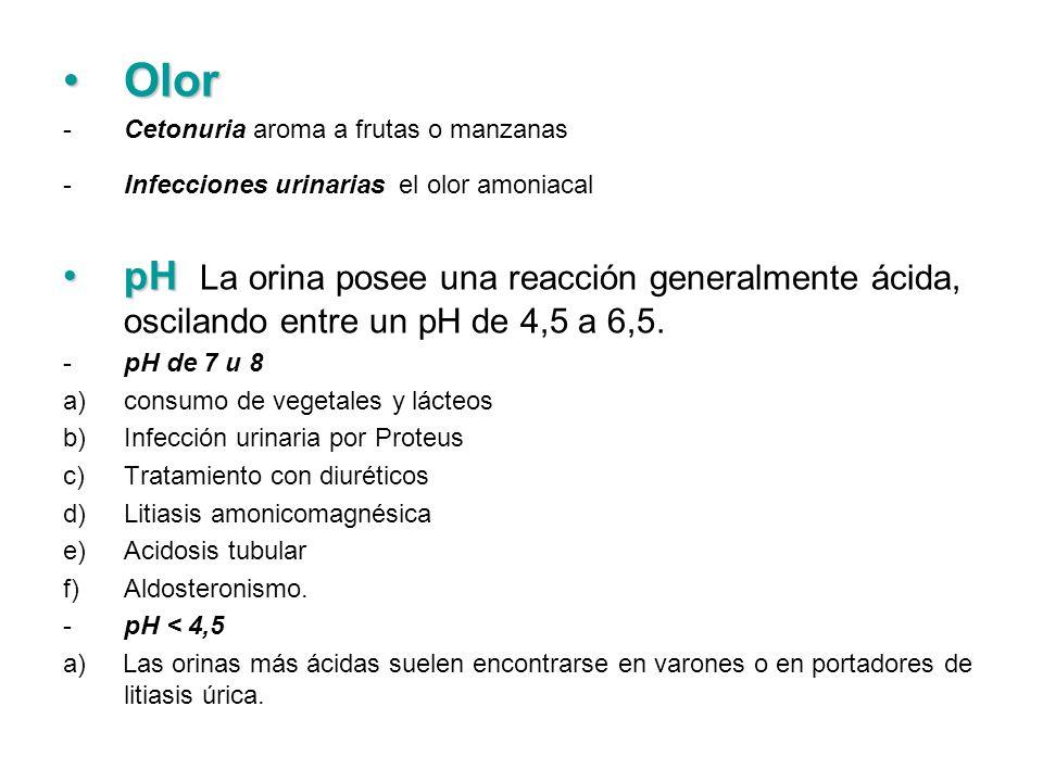 Olor Cetonuria aroma a frutas o manzanas. Infecciones urinarias el olor amoniacal.
