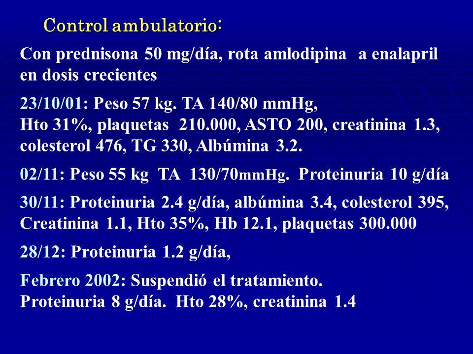 Control ambulatorio: Con prednisona 50 mg/día, rota amlodipina a enalapril. en dosis crecientes. 23/10/01: Peso 57 kg. TA 140/80 mmHg,