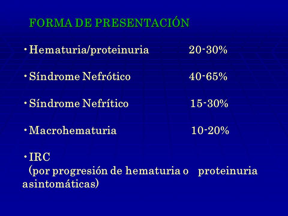 FORMA DE PRESENTACIÓN Hematuria/proteinuria 20-30% Síndrome Nefrótico 40-65%